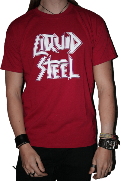 """Shirt """"Liquid Steel"""" red with white logo"""