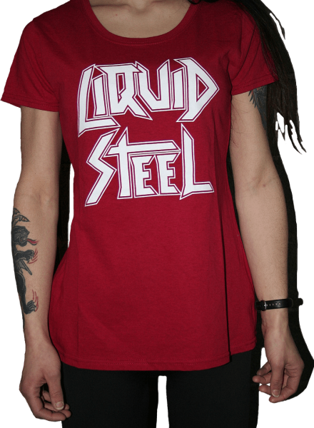 """Girlie shirt """"Liquid Steel"""" red with white logo"""